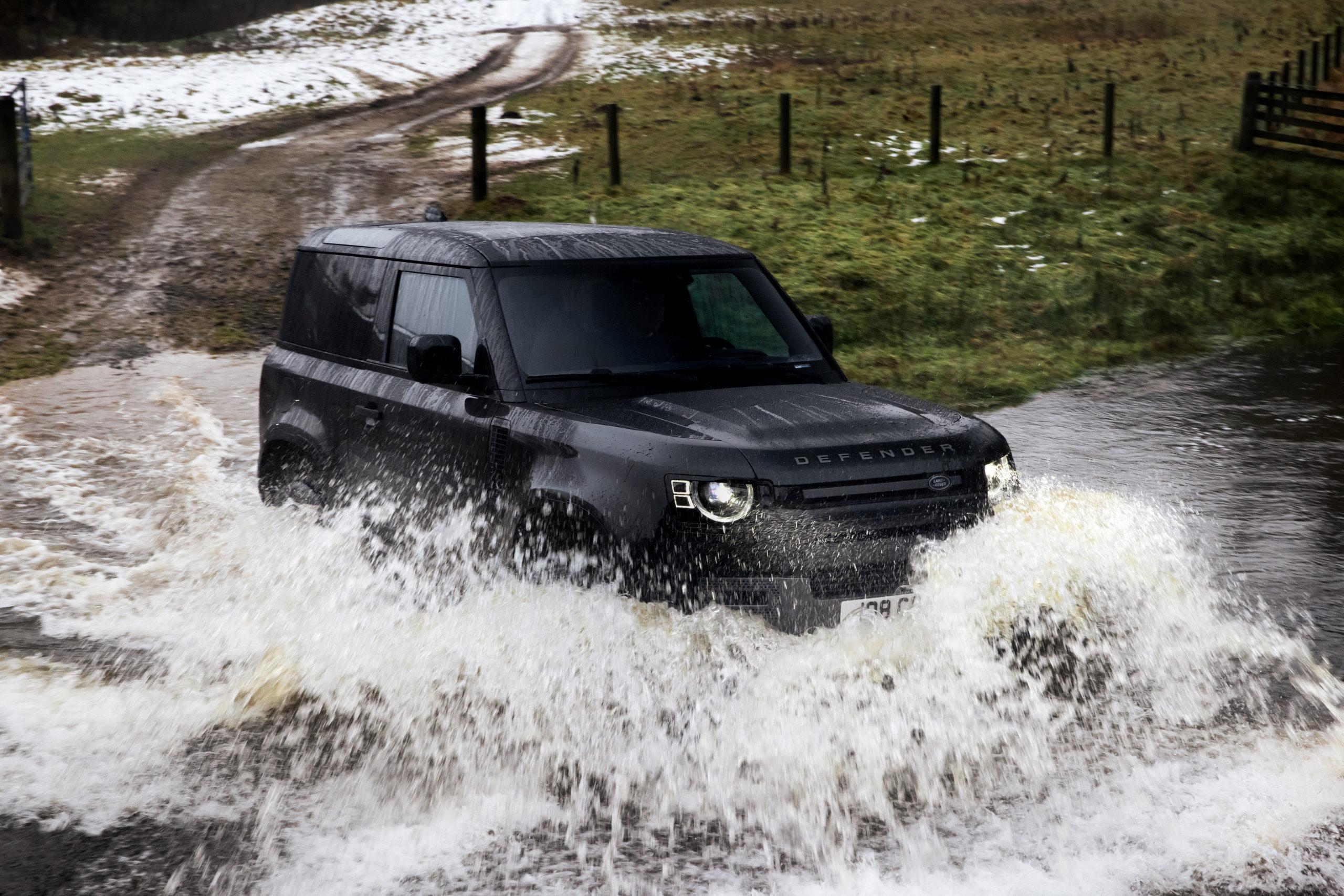 2022 Defender 90 V8 water crossing