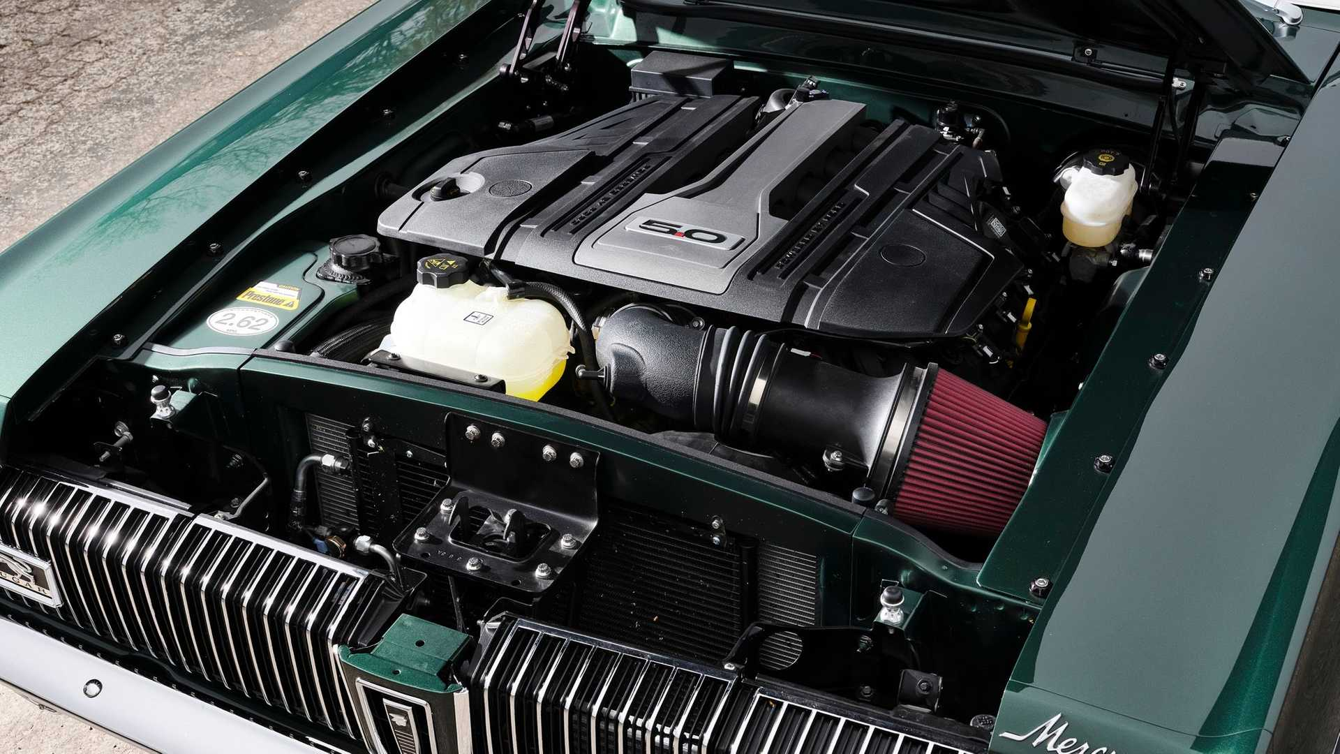 Ringbrothers Cougar restomod 5.0L Coyote Engine under hood