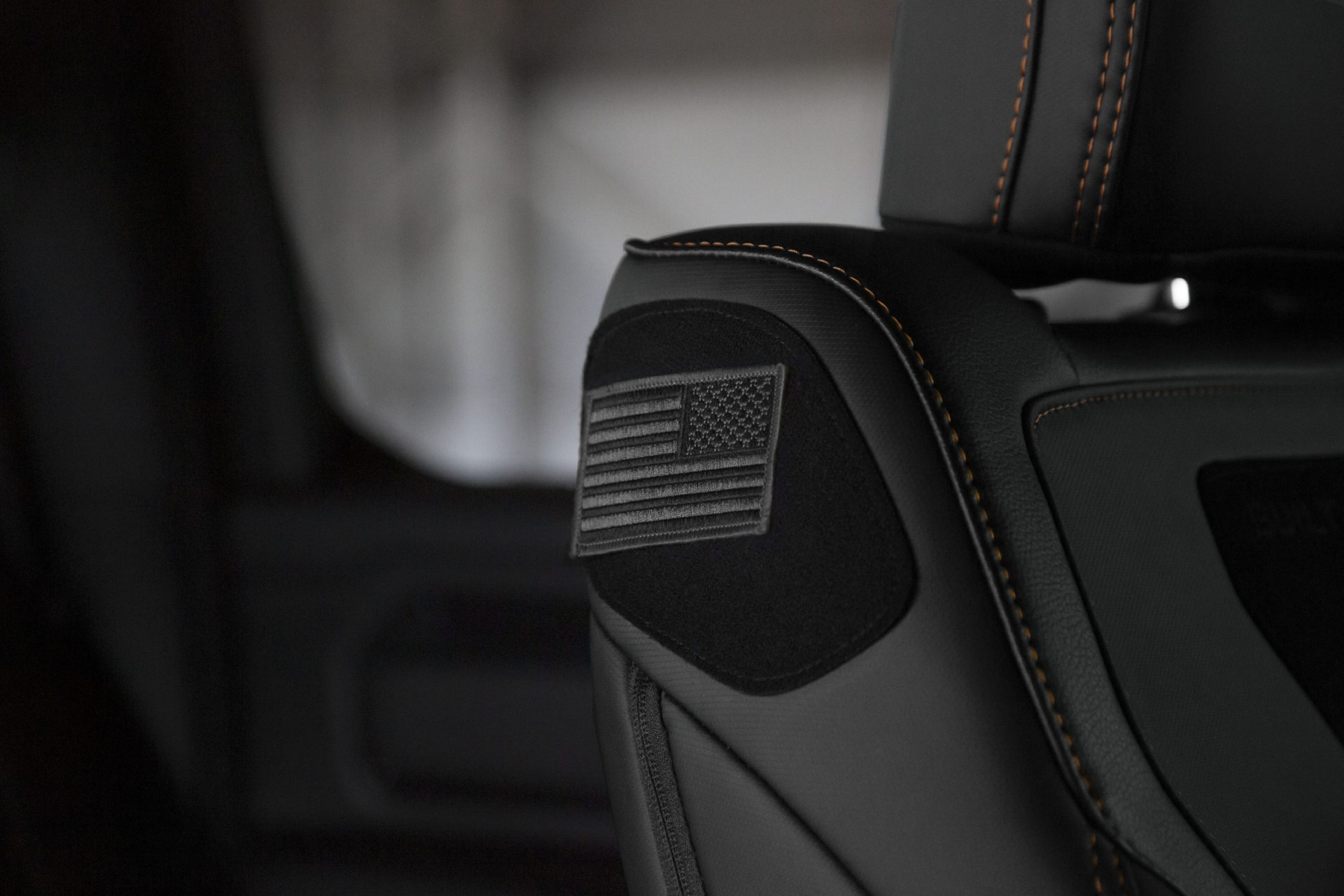 2021 Ram 1500 Built to Serve Edition front seat patch panel with black USA flag