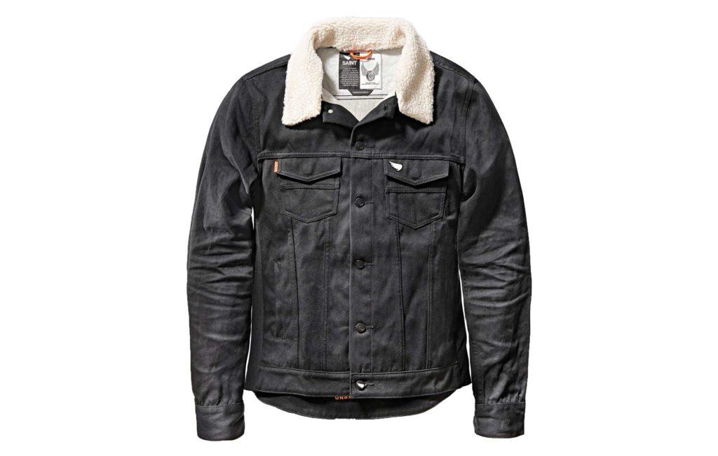 sa1nt unbreakable denim shealing collar jacket