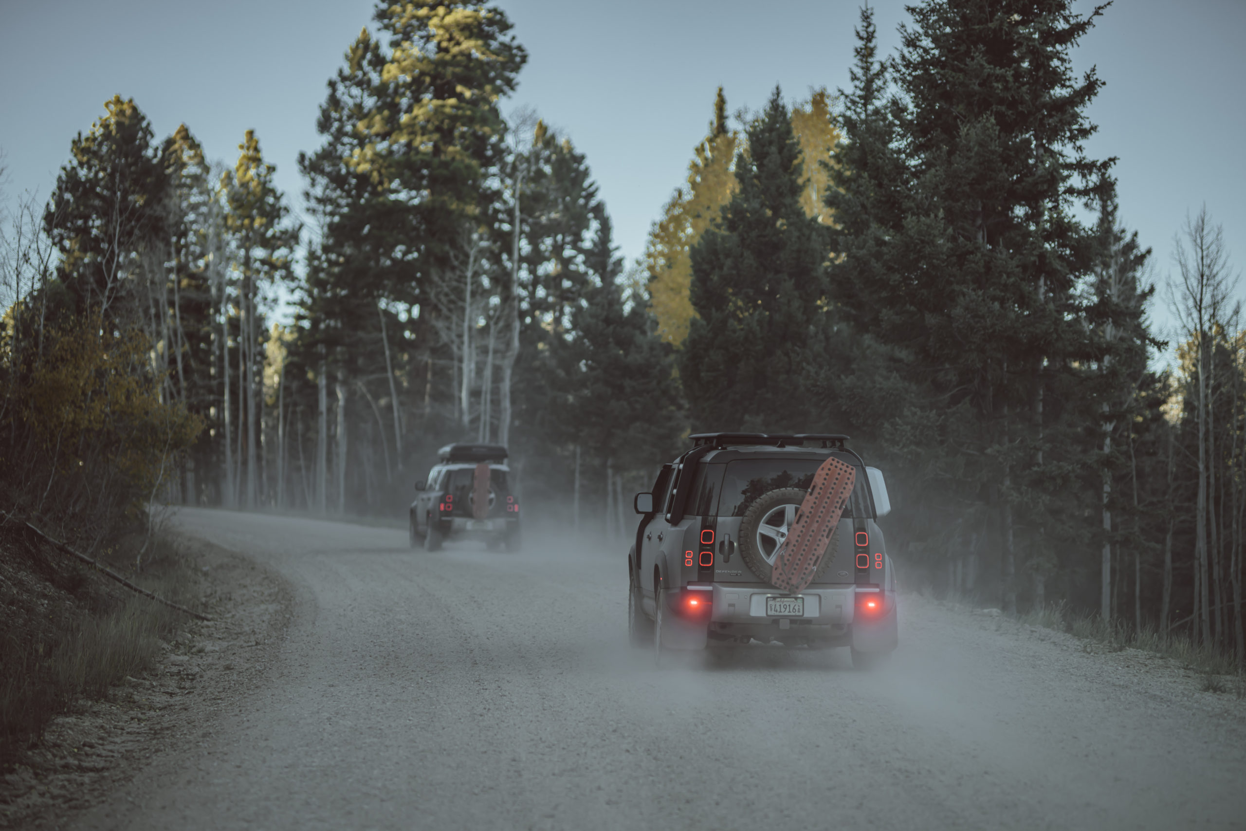 2021 Land Rover Defenders on dirt road