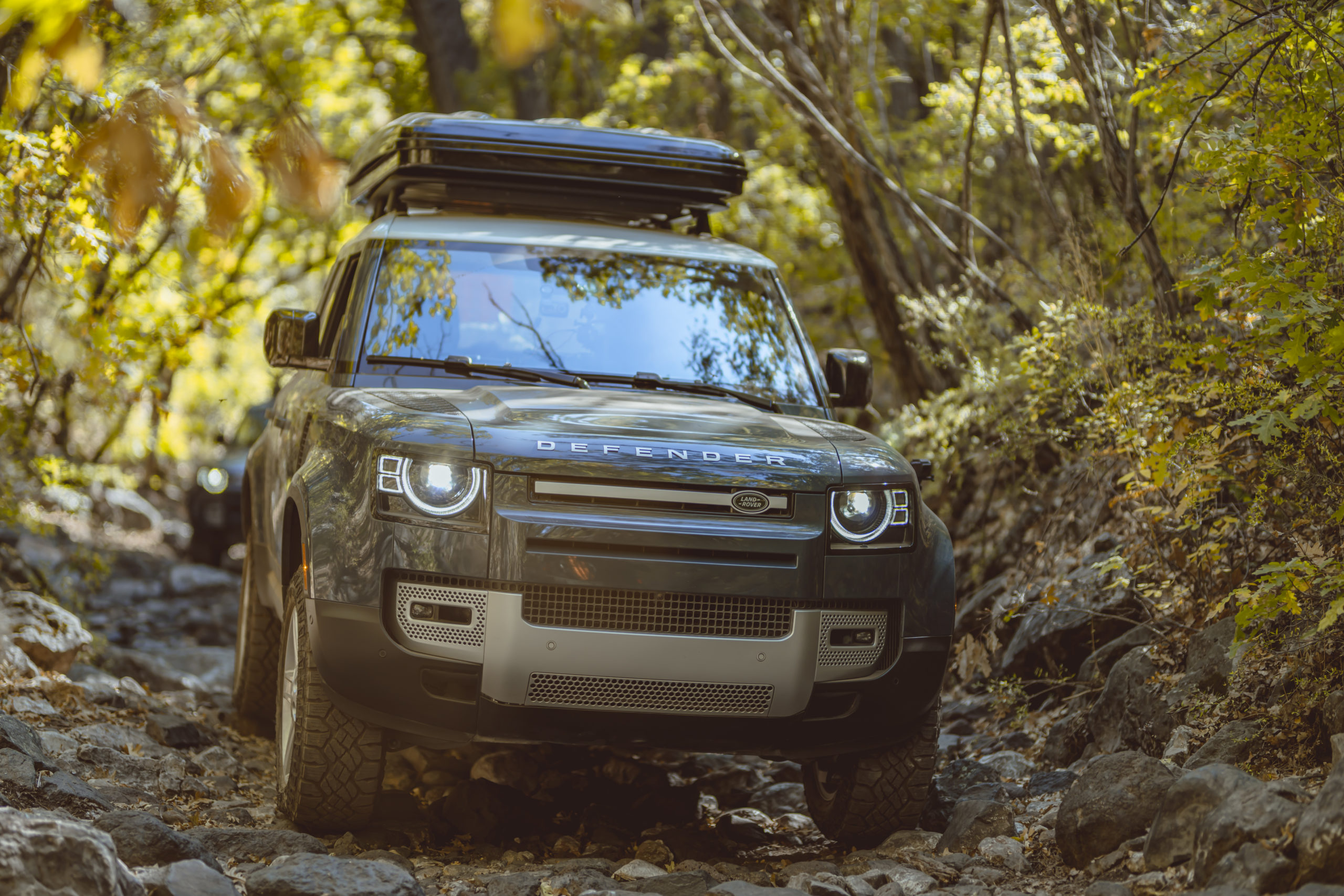 2021 Land Rover Defender on rocky trail