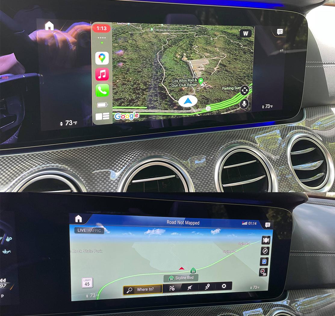 Apple CarPlay 4:3 in Mercedes vs native navigation