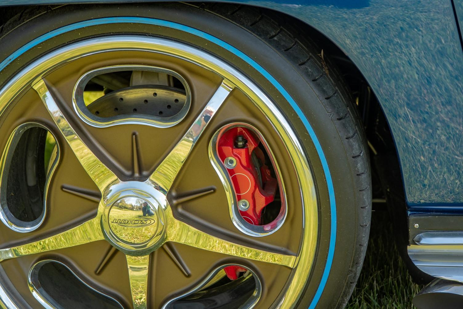 Accelerator Schott wheels wrapped in Diamond Back Blueline tires hide the Z06 brakes