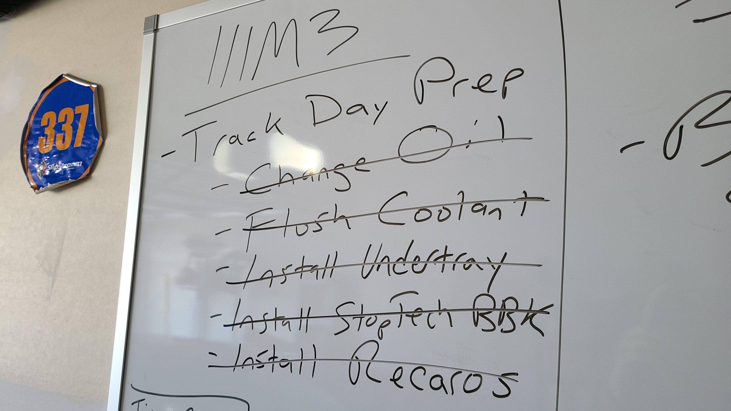 m3 track prep checklist