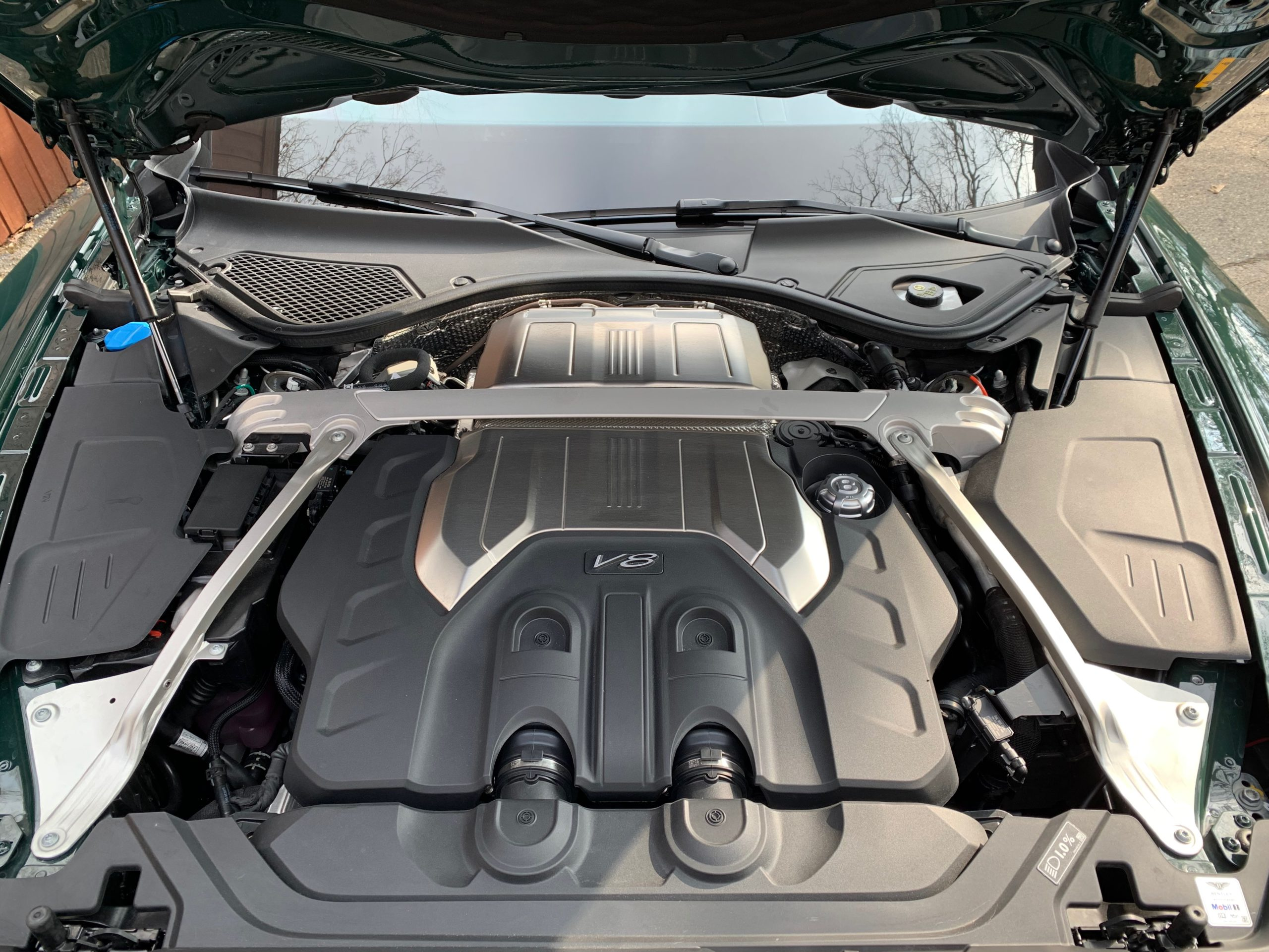 the twin-turbocharged 4.0-liter V8 of the 2021 Bentley Flying Spur V8
