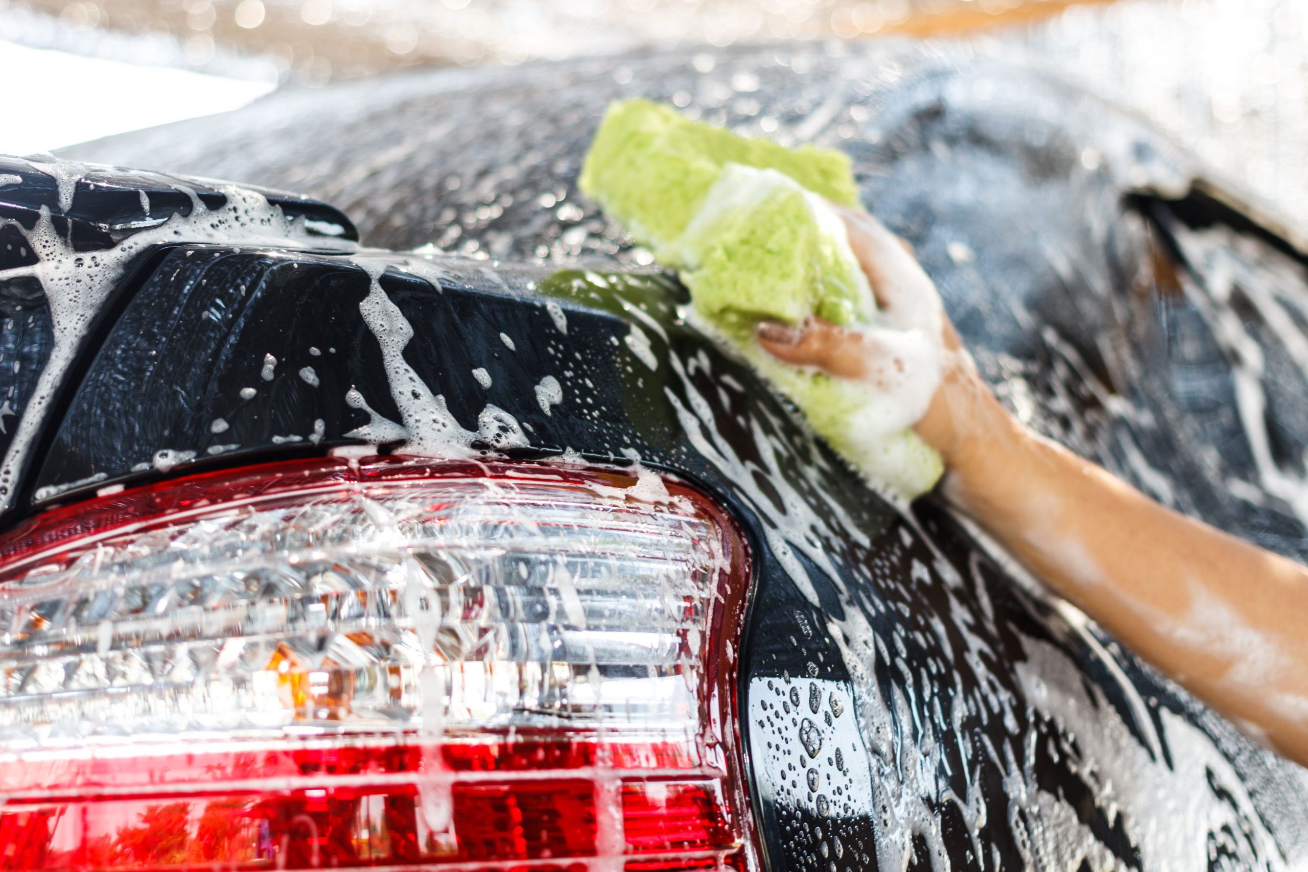 how to detail your car - soaping car up with sponge