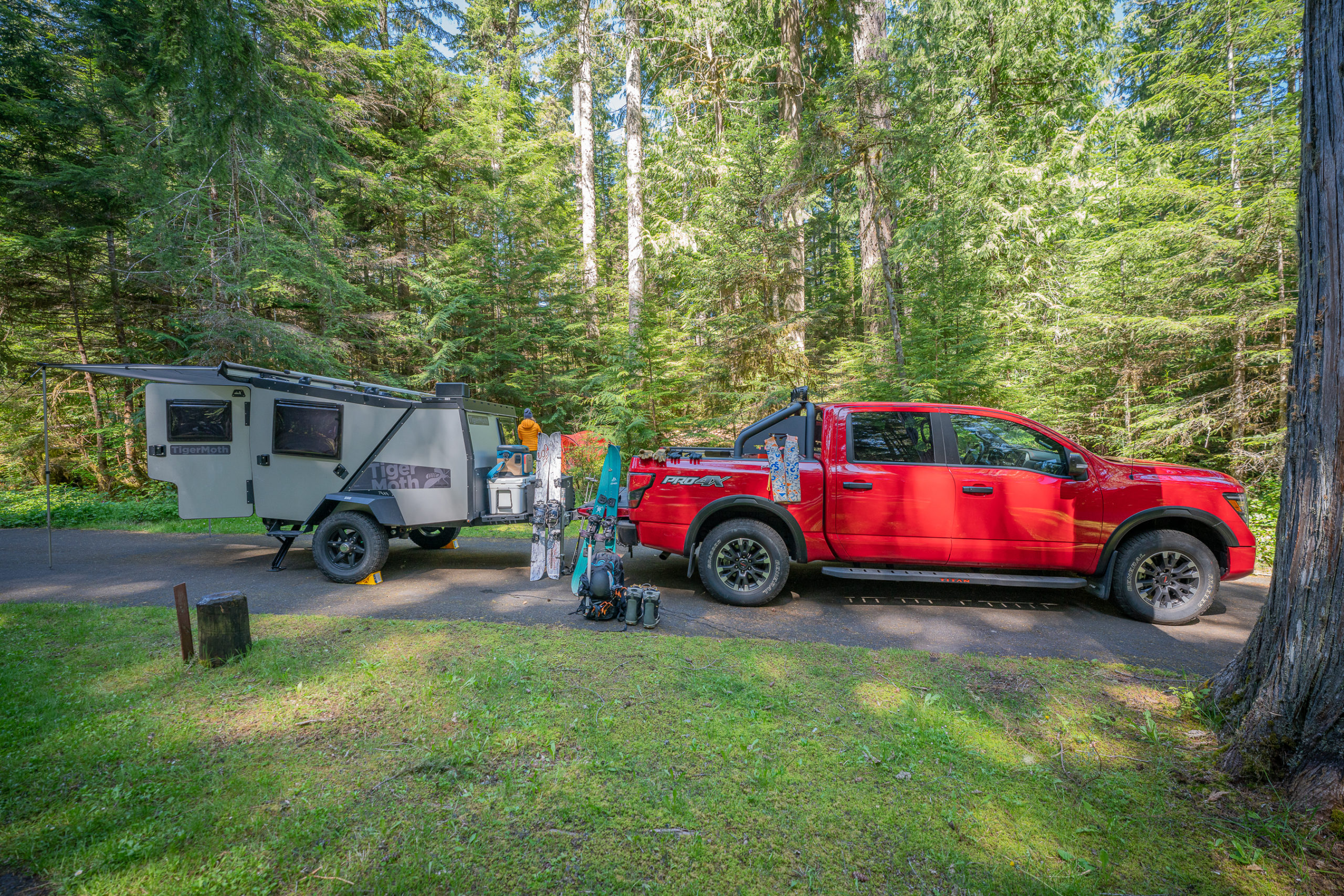 2021 Nissan Titan Pro-4X with trailer and gear