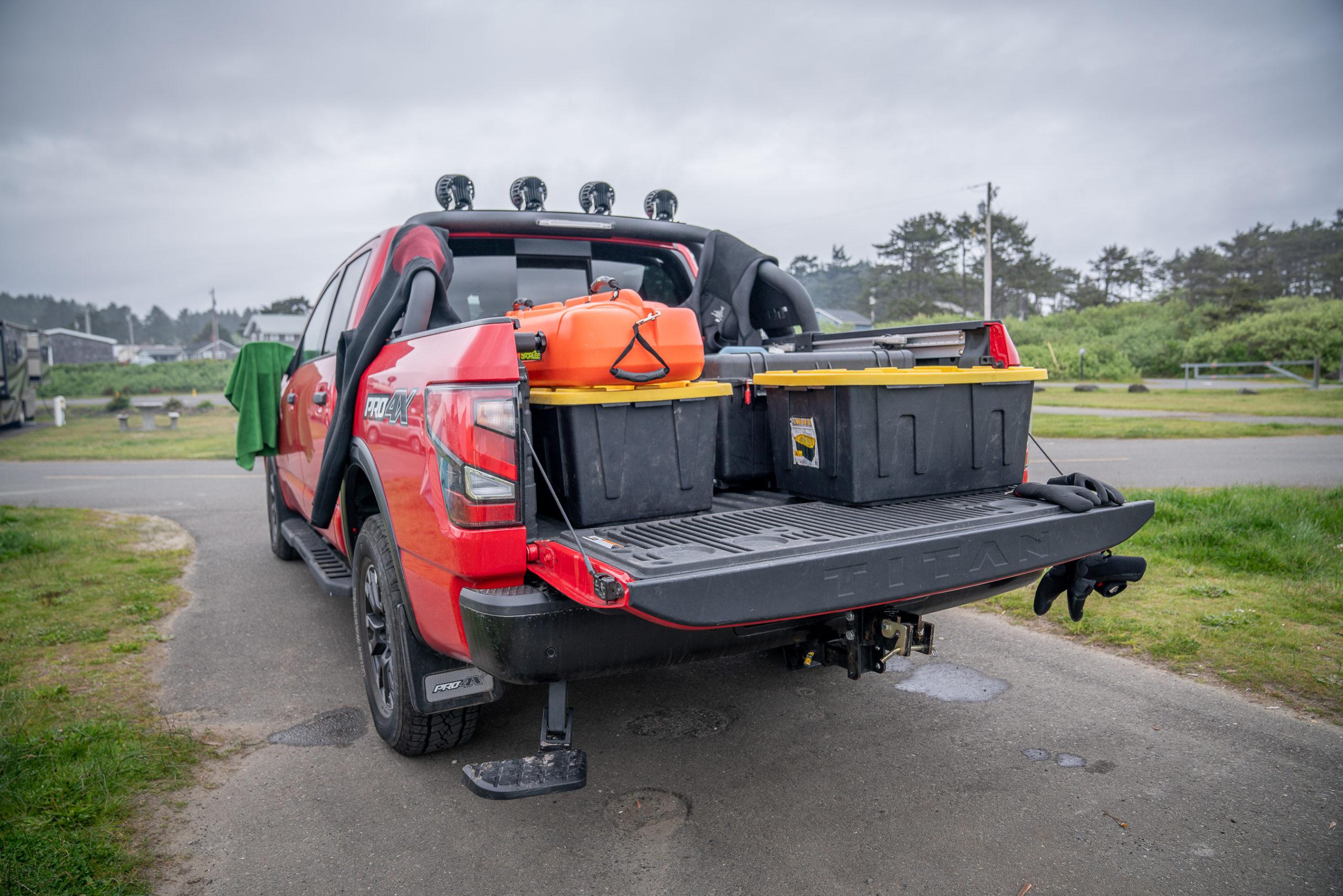 2021 Nissan Titan Pro-4X gear in truck bed