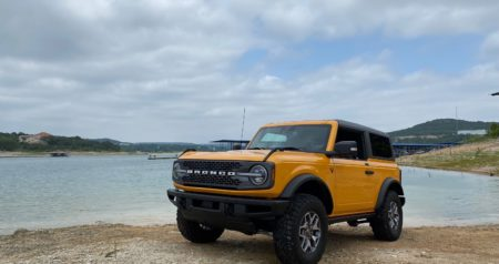 2021 Ford Bronco in front of lake