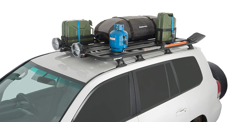 A black 72X57 Rhino-Rack Pioneer platform rack can hold a lot of gear.