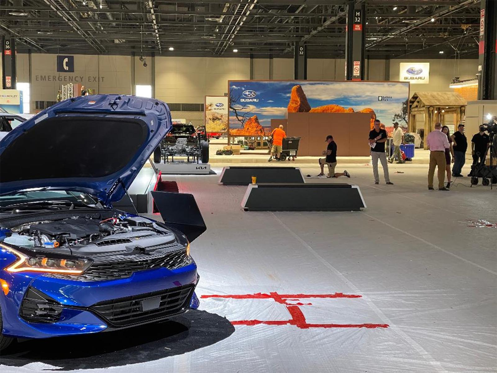 Last minute set-up at the Chicago Auto Show
