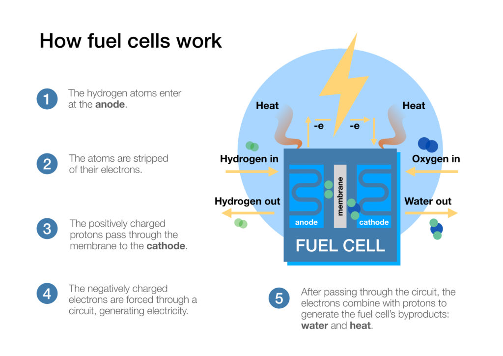 how fuel cells work - infographic