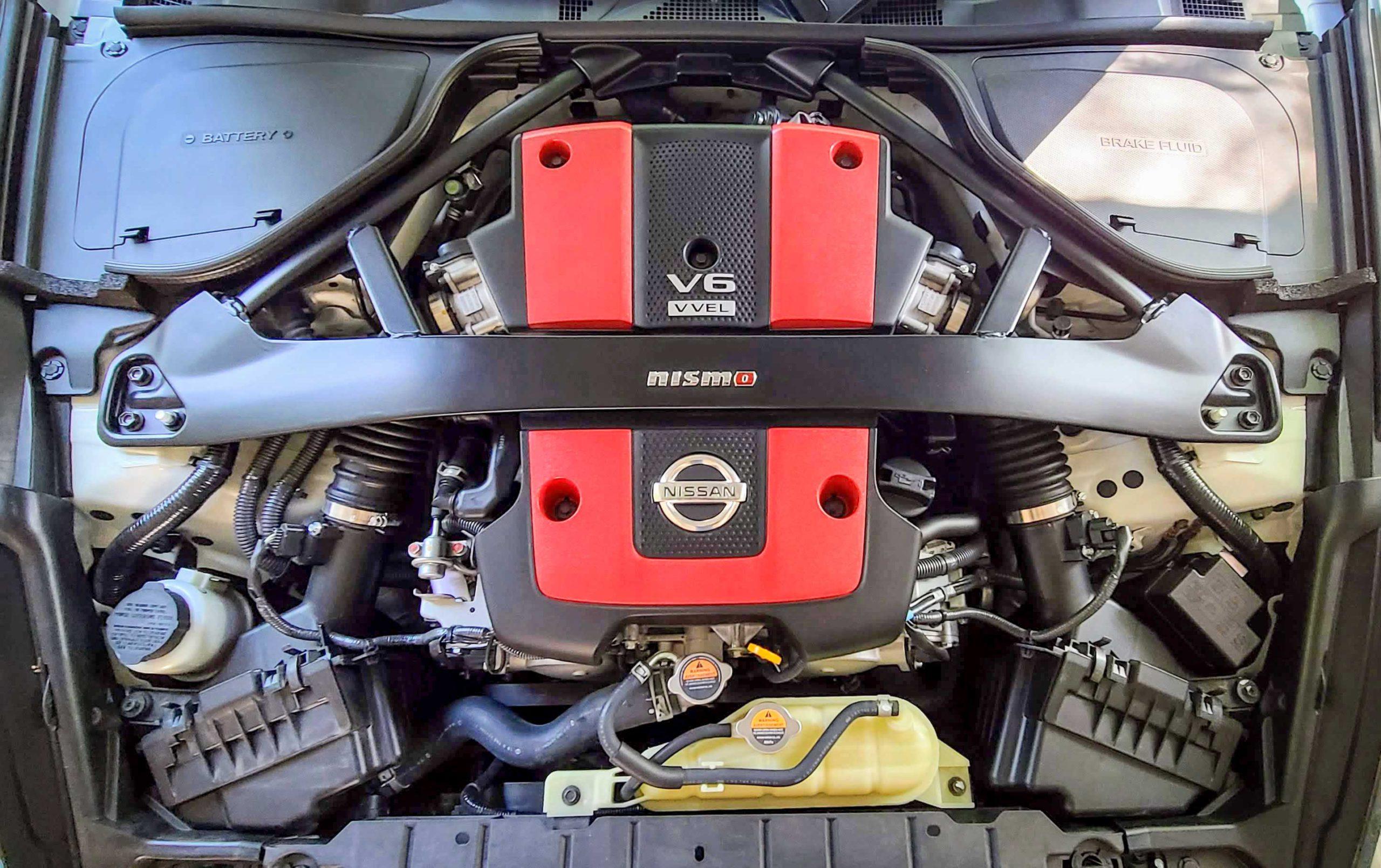 The 2020 Nissan 370Z Nismo's 3.7-liter engine.
