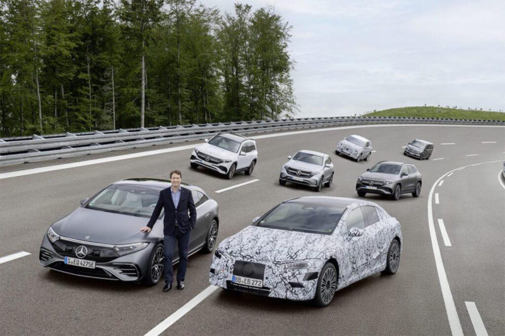 CEO Ola Kallenius with Mercedes BEVs