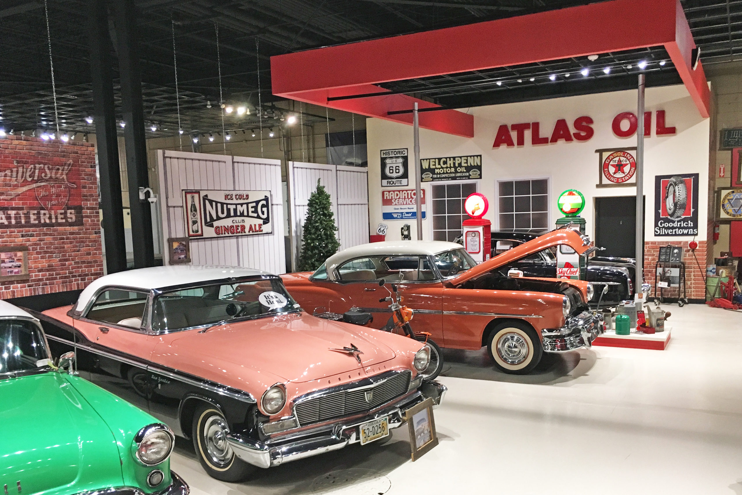 Classic Car Museum gas station display