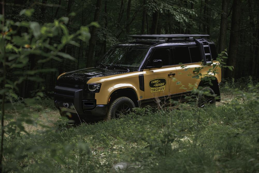 Trophy Edition Defender on forest road