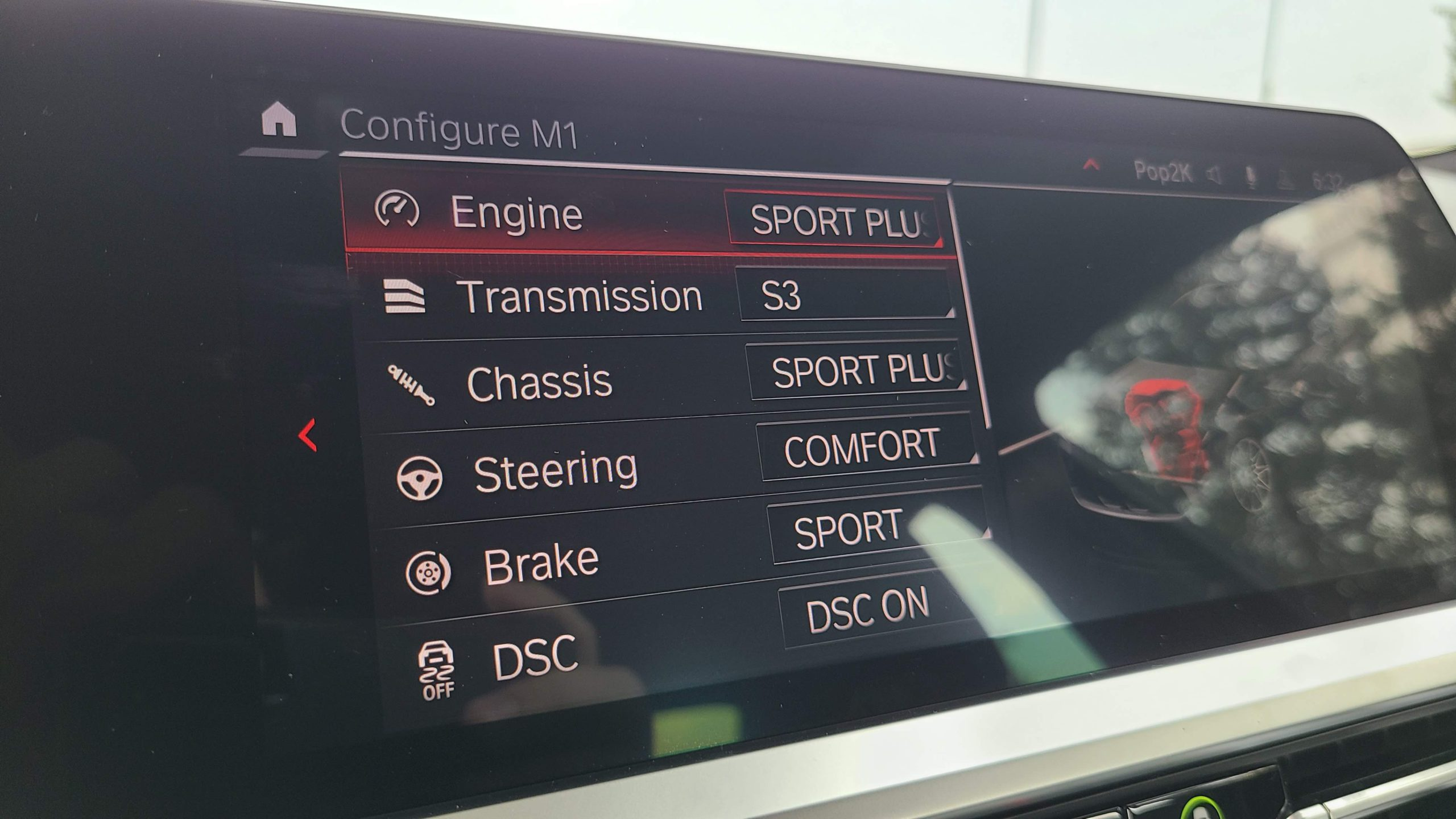 2021 BMW M3 Competition m modes screen