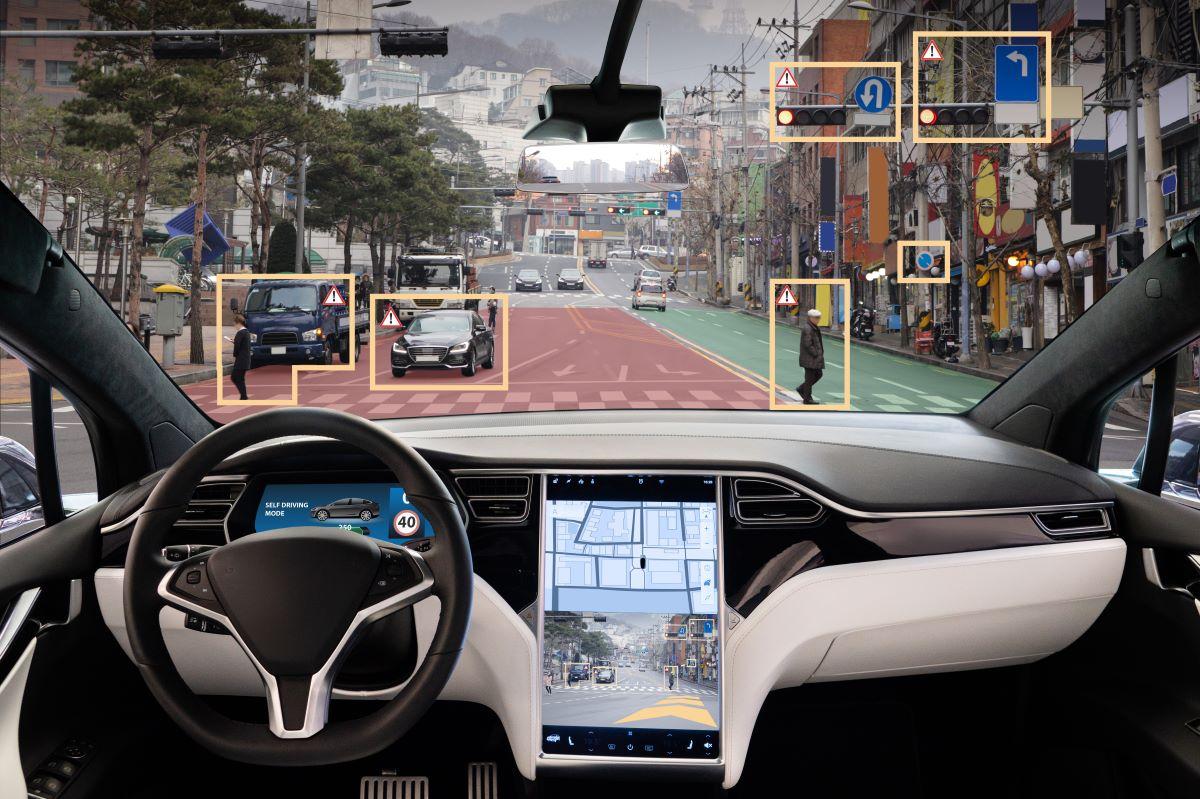 Tesla autopilot crash investigation - A rendering showing self-driving technology.