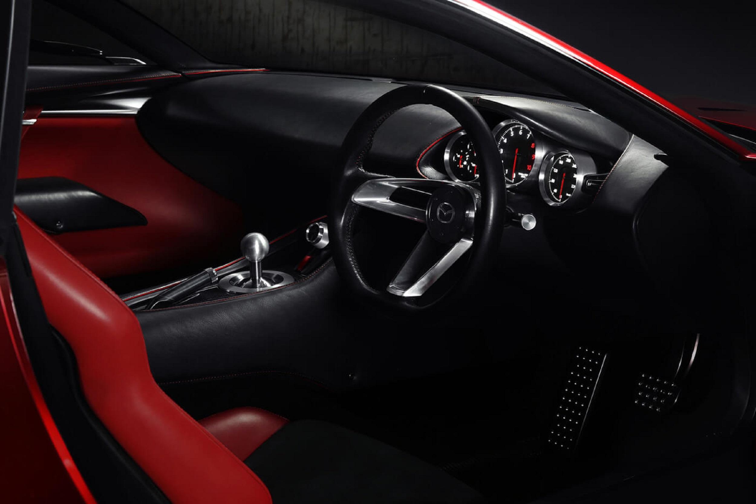Mazda car interior red and black