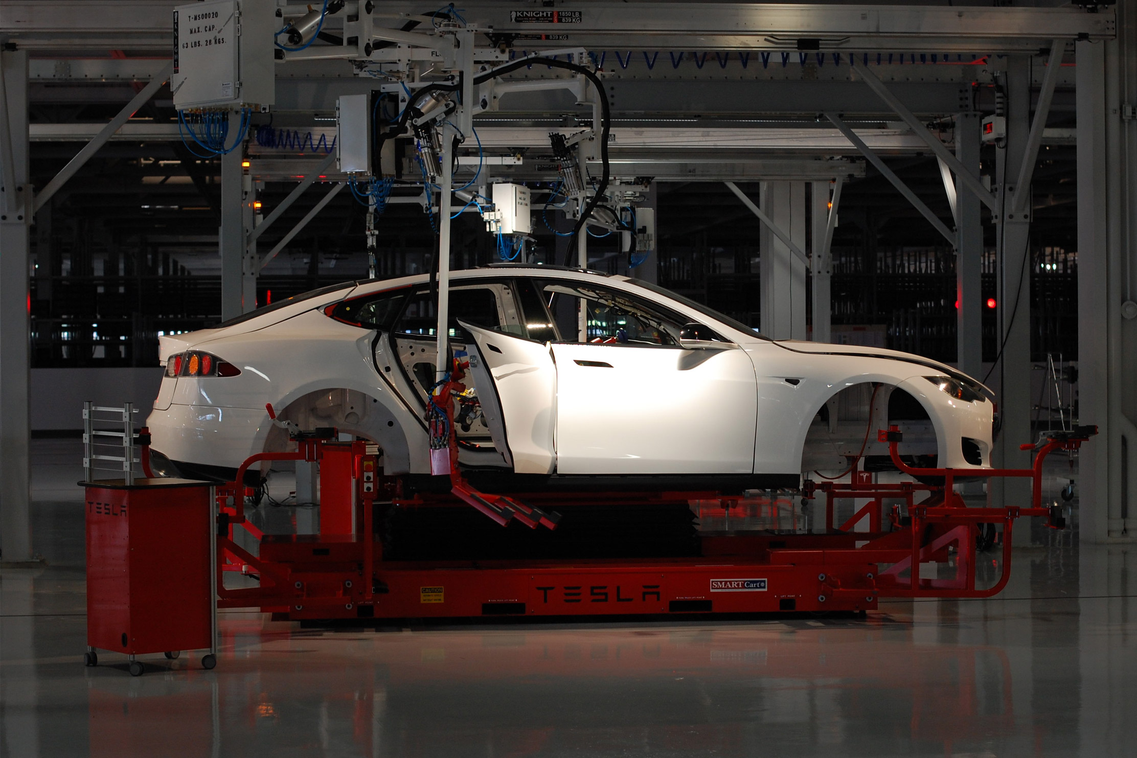 Car in production at Tesla Factory Fremont