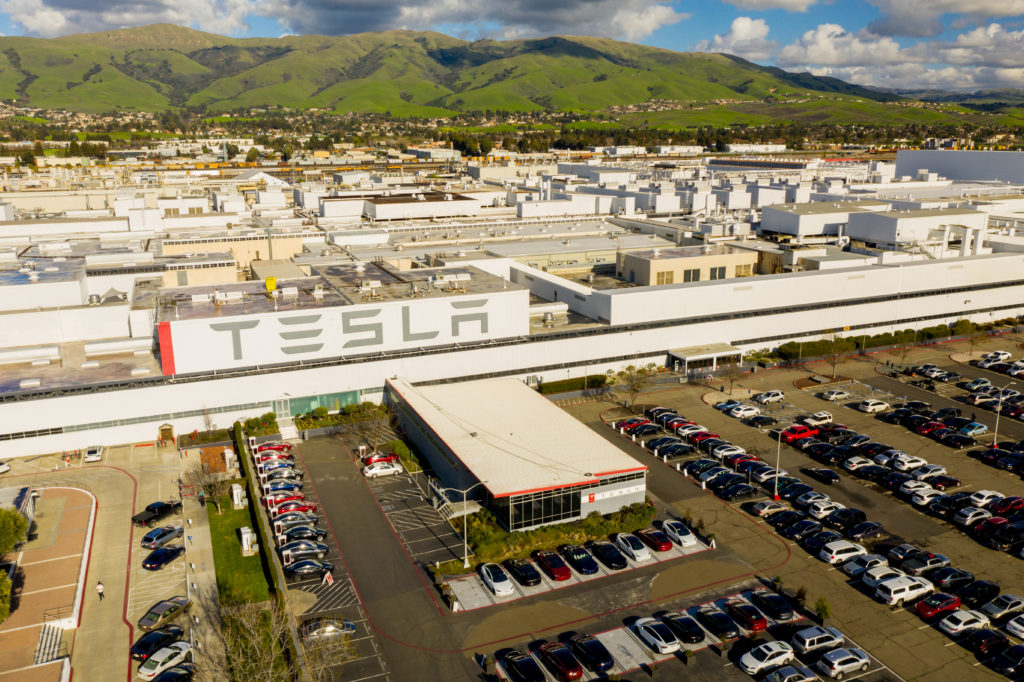 Aerial photos of Tesla Fremont Factory