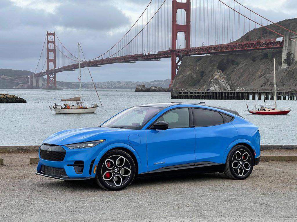 2022 Ford Mustang Mach-E GT by Golden Gate bridge