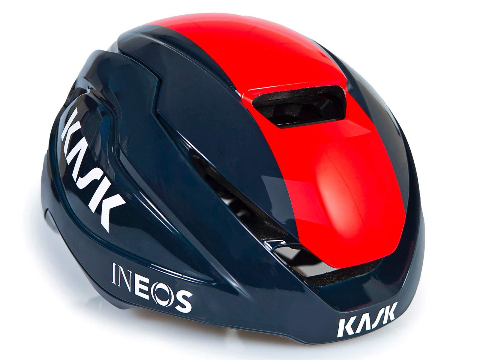 Kask Wasabi aero road helmet, adjustable venting aerodynamics merino padding, angled