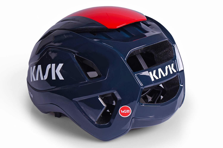 Kask Wasabi aero road helmet, adjustable venting aerodynamics merino padding, rear angled