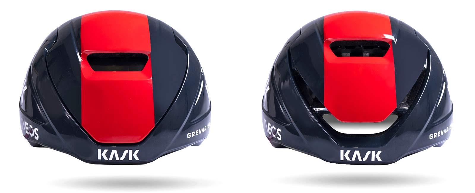 Kask Wasabi aero road helmet, adjustable venting aerodynamics merino padding, open vs. closed
