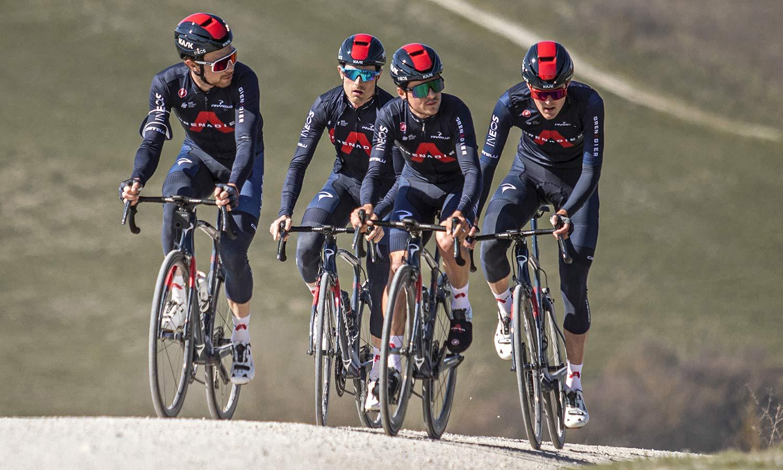 Kask Wasabi aero road helmet,adjustable venting aerodynamics merino padding, Ineos Grenadiers, photo by PocisPix Strade Bianche team