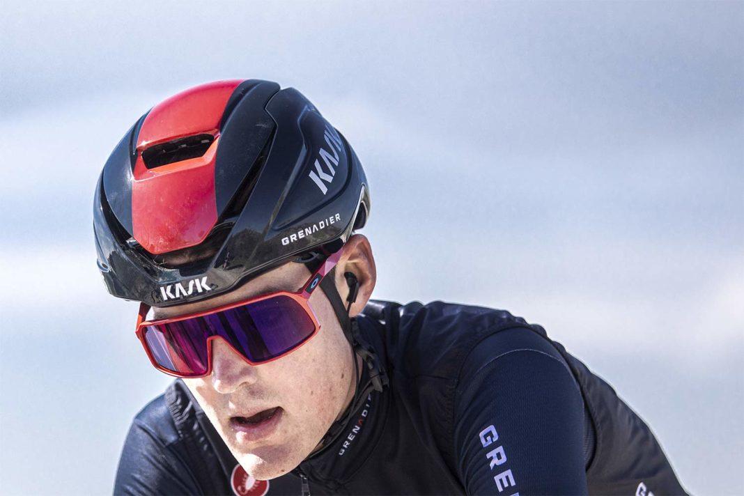 Kask Wasabi aero road helmet,adjustable venting aerodynamics merino padding, Ineos Grenadiers, photo by PocisPix Strade Bianche detail