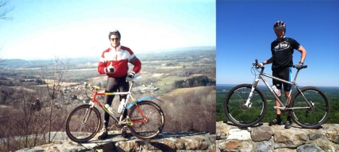 bikerumor pic of the day then and now photo at the overlook on I-80 in Hackettstown, New Jersey