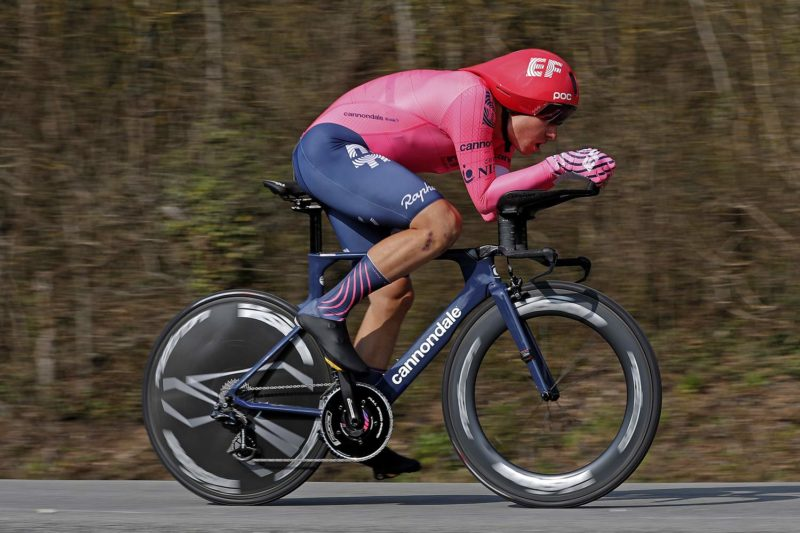 Vision Metron TFW Disc lightweight carbon TT wheel, EF pro Cycling Stefan Bissegger, 2021 Paris-Nice photo by Getty Images