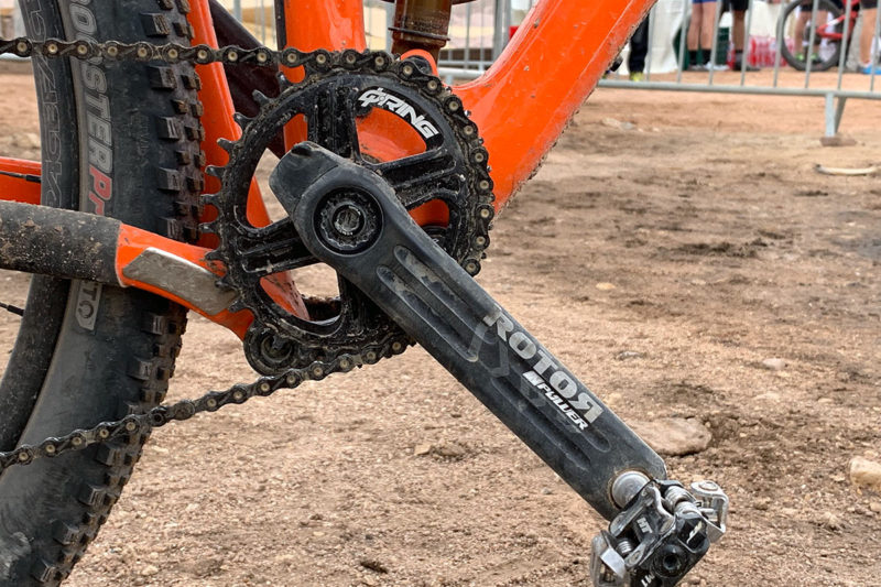 Rotor 2InPower mountain bike power meter fits inside the spindle