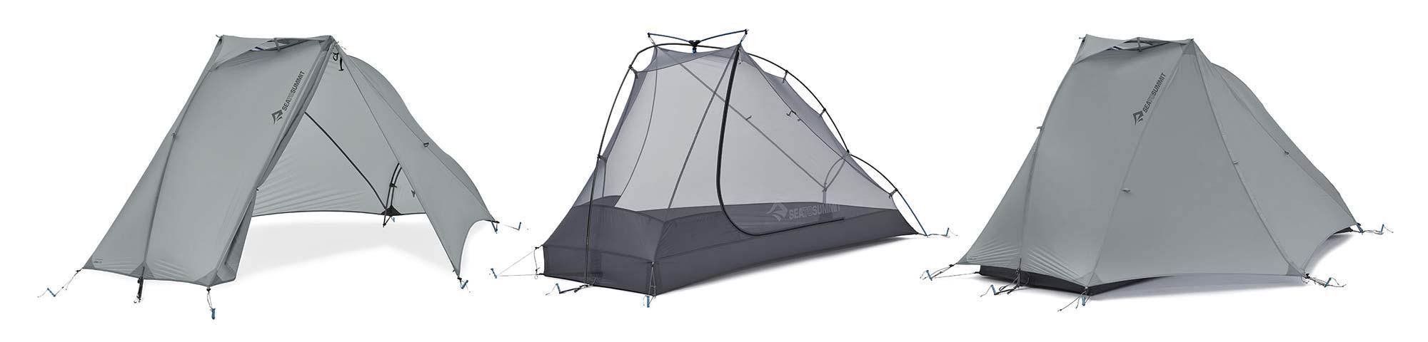 Sea to Summit Alto and Telos TR lightweight tents, Tension Ridge modular 3-season ultralight bikepacking tent,setup options