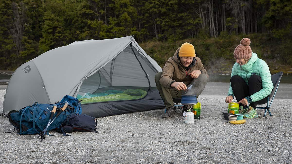 Sea to Summit Alto and Telos TR lightweight tents, Tension Ridge modular 3-season ultralight bikepacking tent,creekside camp in New Zealand