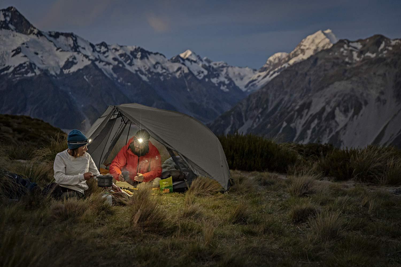 Sea to Summit Alto and Telos TR lightweight tents, Tension Ridge modular 3-season ultralight bikepacking tent,night camp in New Zealand