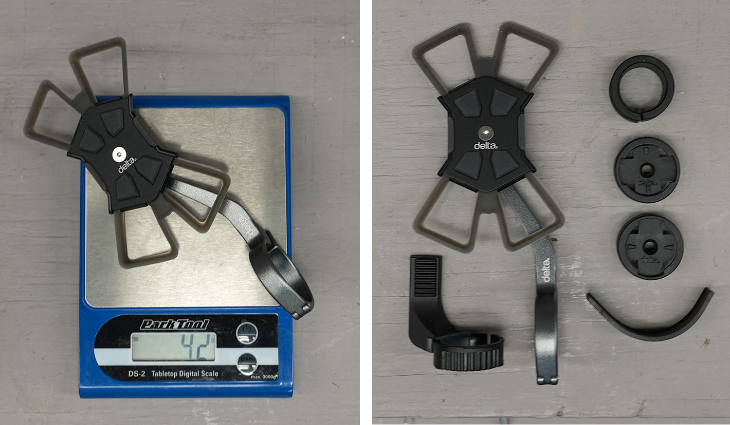 delta cycle x mount pro universal smartphone holder for bicycle handlebars shown with actual weight and all accessories