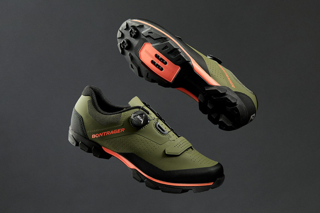 bontrager foray mountain bike shoes shown floating in the air