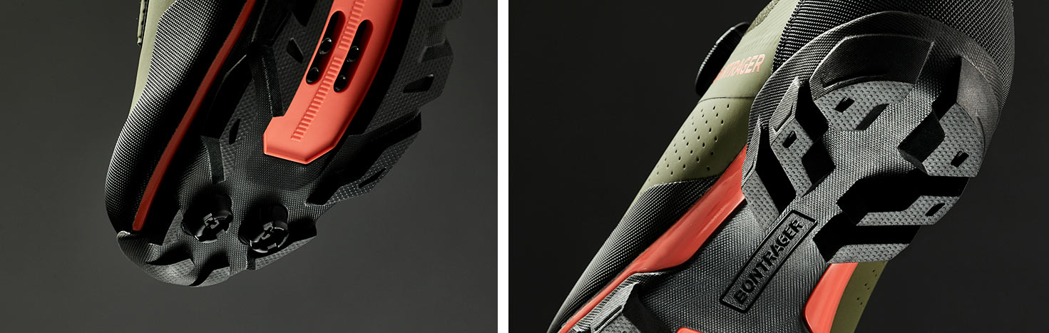 bontrager foray mountain bike and gravel shoe tread details