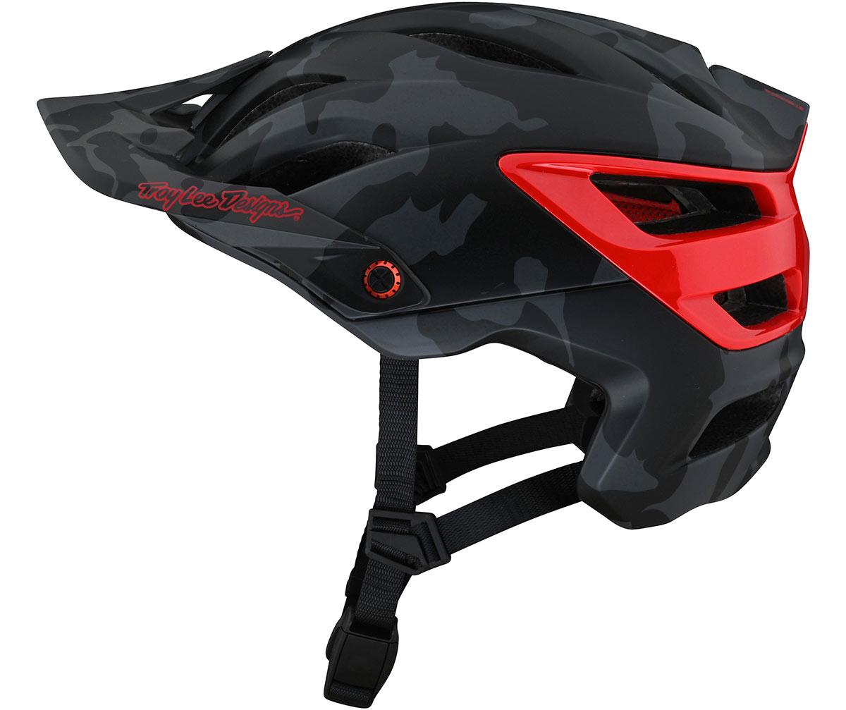 tld a3 helmet black red mountain bike open face lid