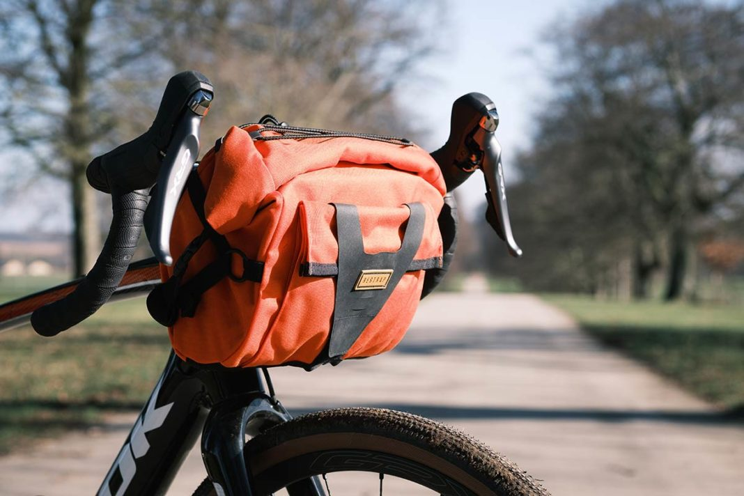 restrap 10 litre bar pack waterproof handlebar bag orange
