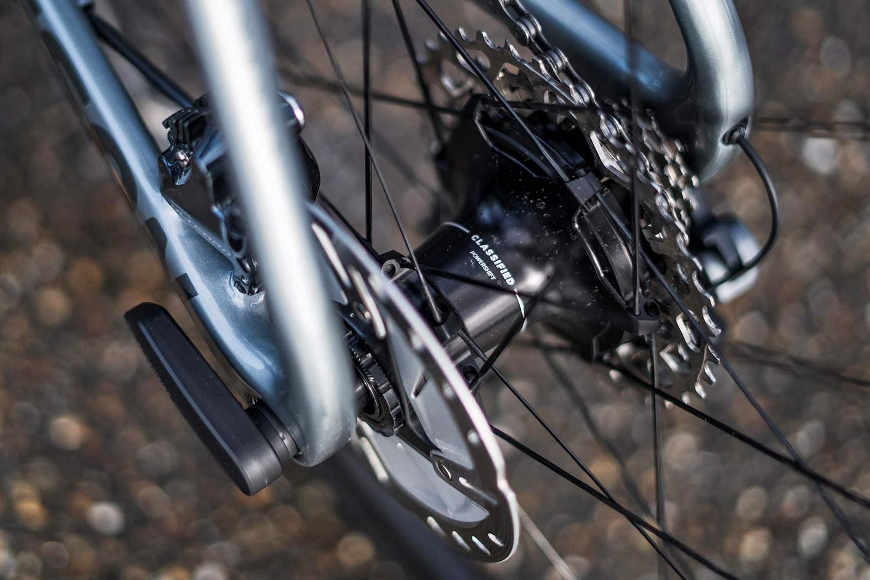 Isaac Meson X Classified 1x aero road bike, wireless electronic internal gear hub 2x11 carbon road race bike,rear hub detail