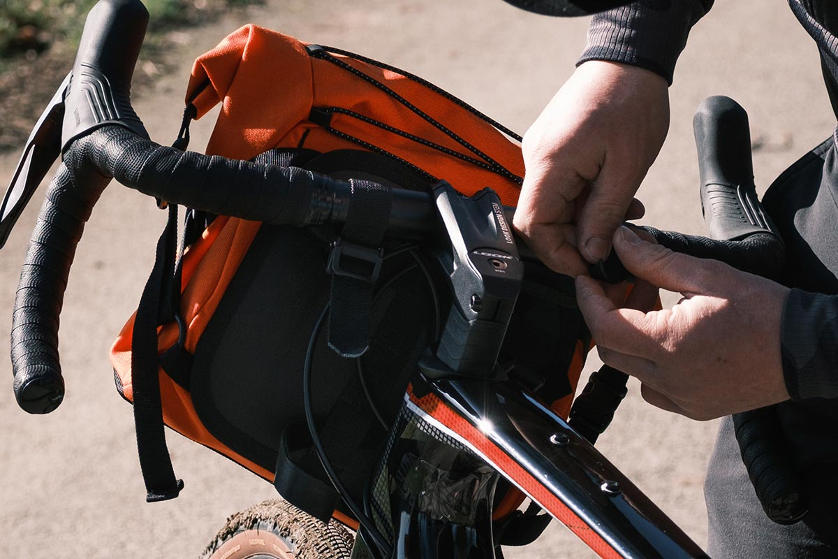 restrap bar pack attachment to handlebar