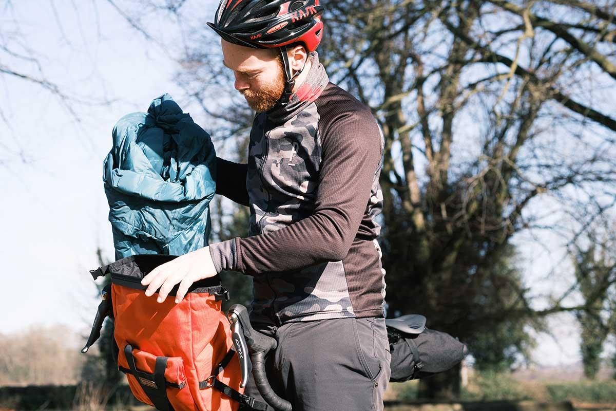 restrap bar pack 10 liter carrying capacity roll top dry bag waterproof handlebar bag