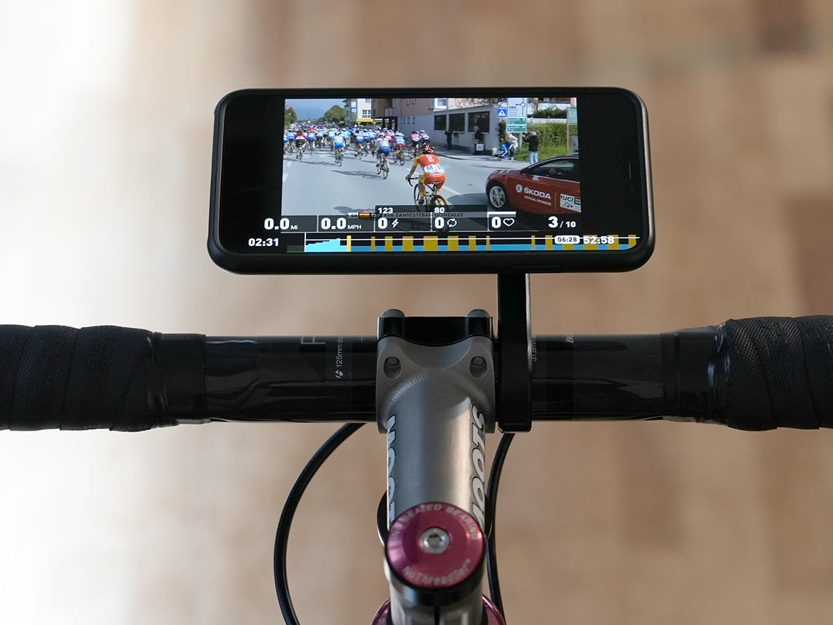 quad lock out front iPhone mount for bicycle handlebars