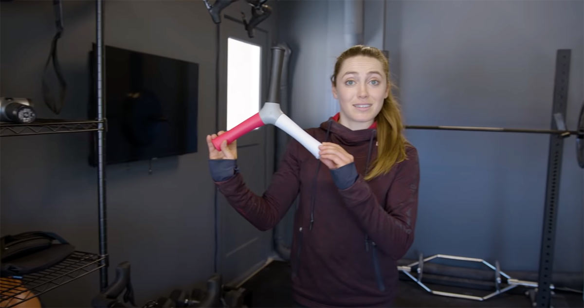 kate courtney with weird workout equipment