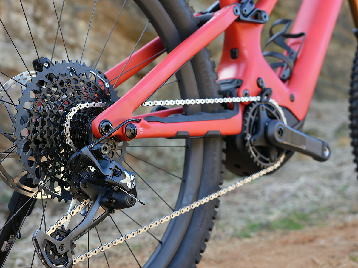 specialized turbo levo drivetrain showing rear derailleur and cassette