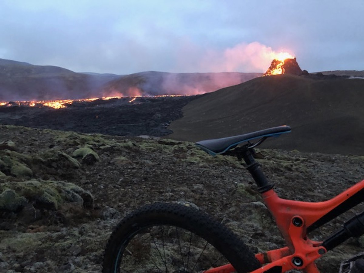 bikerumor pic of the day mountain biking Fagradalsfjall volcano in Iceland